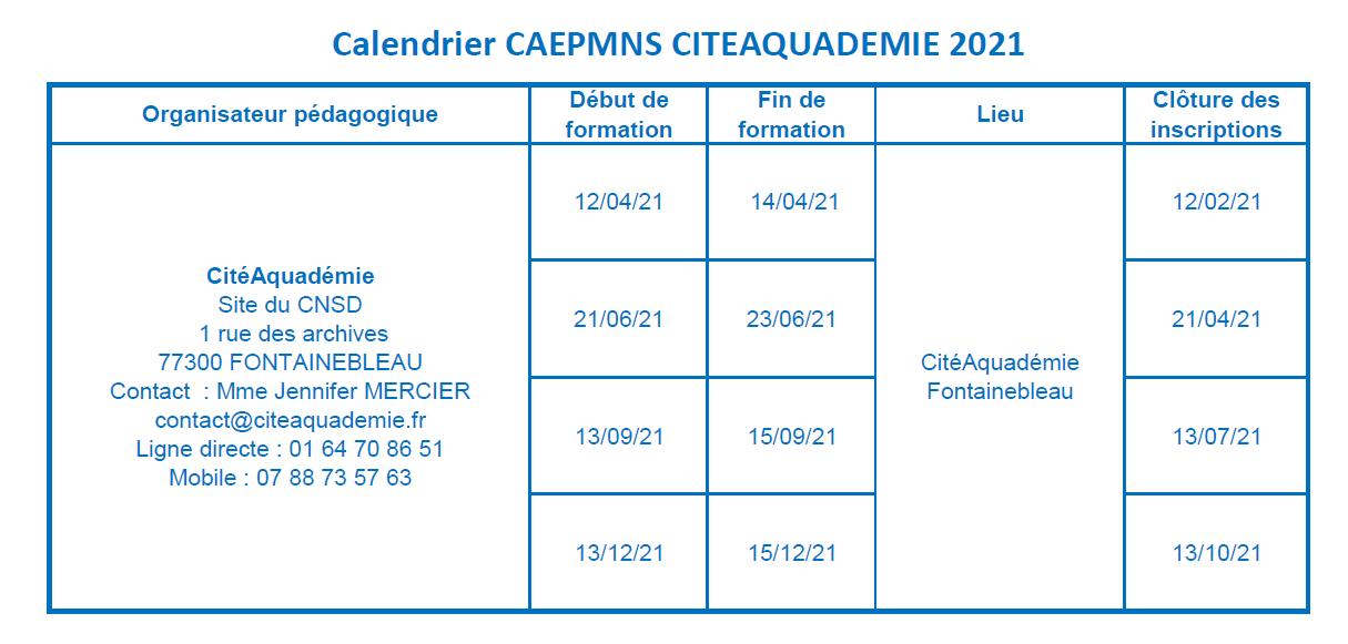 CALENDRIER DES SESSIONS DE REVISION DU CAEPMNS 2021 - CITEAQUADEMIE
